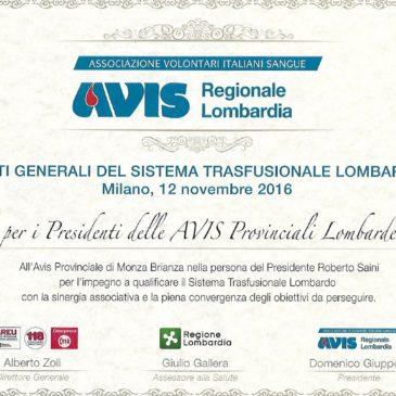 Avis provinciale MB premiata agli Stati generali del sistema trasfusionale