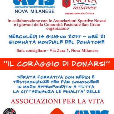 Per Avis Nova Milanese sarà una lunghissima Giornata Mondiale del Donatore
