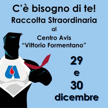 Al Centro Formentano si dona anche il 29 e 30 dicembre