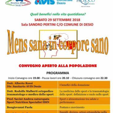 """Avis Desio, la donazione protagonista al convegno """"Mens sana in corpore sano"""""""